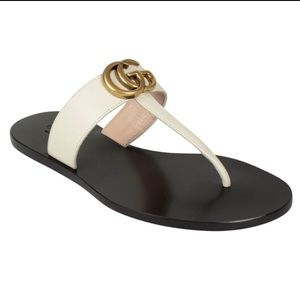 Gucci marmont GG thong sandals white